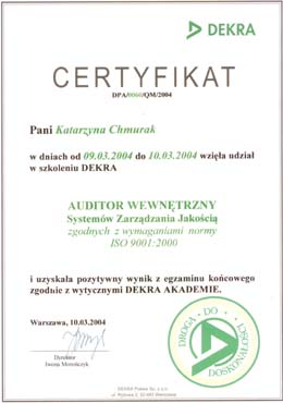 ISO 9001-2000 certified auditor